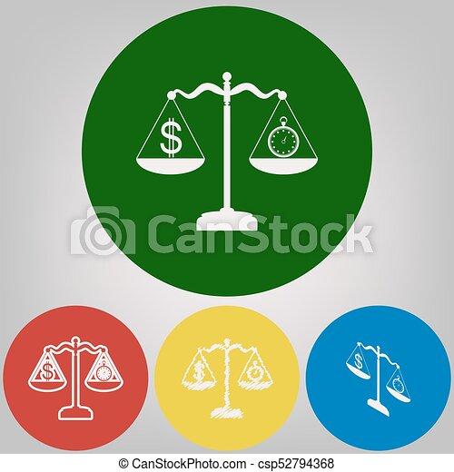 El cronómetro y el símbolo del dólar en escalas. Vector. 4 estilos blancos de icono en 4 círculos de colores sobre fondo gris claro. - csp52794368