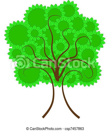 Círculos, hoja de árbol. Círculos, ramas, formación, hojas ...