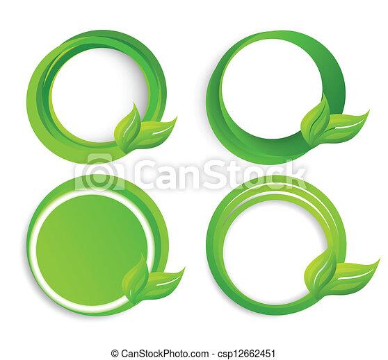 Círculos, hojas, conjunto. Círculos, resumen, conjunto,... vector de ...