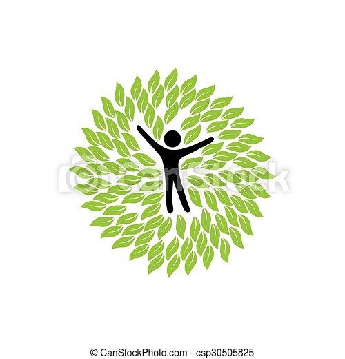 Círculos, hojas, persona, vector, logotipo, icono. Vector ...