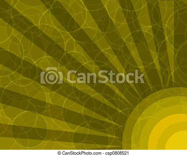 círculos, laranja, raios, retro, fundo - csp0808521