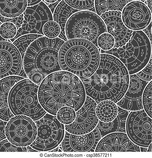 Mandalas florales étnicas, círculos de fondo en vector. Patrón sin costura. - csp38577211