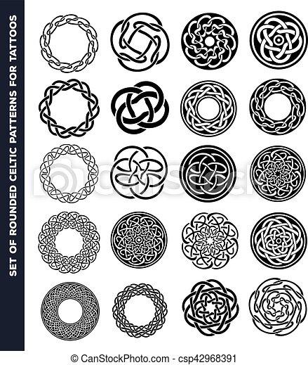 Dibujos Celtas Para Tatuajes círculos, tatuaje, celta, anillos, diseño. tatuaje, celta, conjunto
