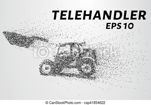 círculos, telescópico, particles., ilustração, carregador, vetorial, points., consiste, telehandler - csp41854622