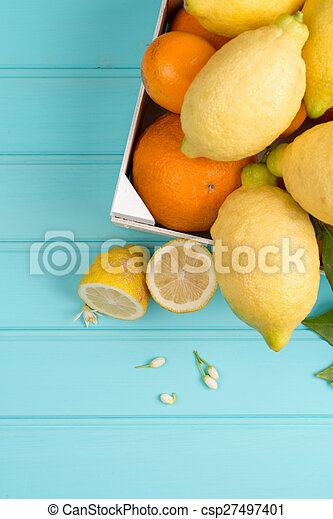 cítrico, frutas frescas - csp27497401