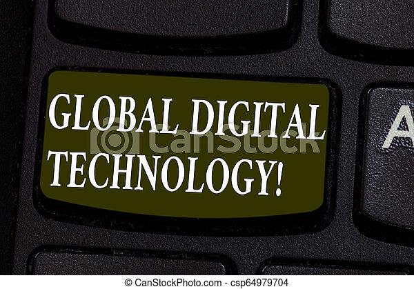 La escritura manual conceptual muestra tecnología digital global. Foto de negocios que muestra información digital en forma de clave de código numérico para crear una idea de mensaje informático. - csp64979704