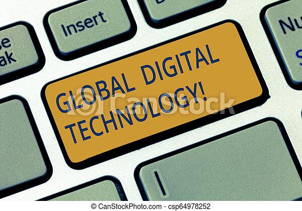 La escritura manual conceptual muestra tecnología digital global. Foto de negocios que muestra información digital en forma de clave de código numérico para crear una idea de mensaje informático. - csp64978252