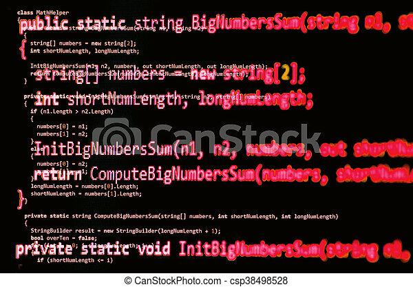 Código de programación, color rojo, escrito en la sintaxis del idioma C - csp38498528