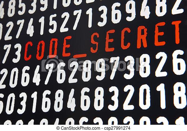 Pantalla informática con texto secreto en el fondo negro - csp27991274
