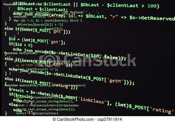 Código de programación en pantalla negra, texto verde - csp37911614