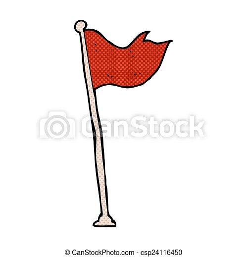 Bandera Cómica En El Poste La Bandera De Dibujos Animados