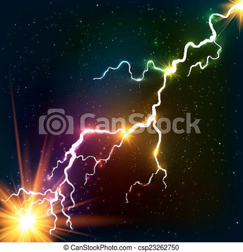 Los colores del arcoiris brillan con rayos de plasma cósmicos - csp23262750