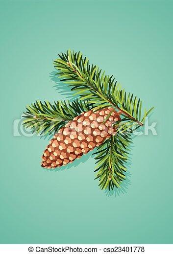 cône, pin, branche - csp23401778