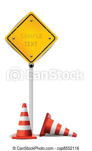 cônes trafic, signe jaune - csp8552116