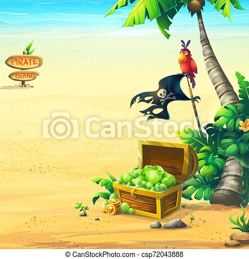 côte, perroquet, arbre, océan, paume, poitrine - csp72043888