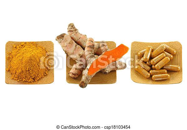 Rhizome cúrcuma, polvo, cápsulas - csp18103454