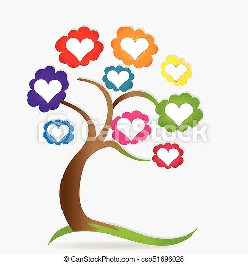Cœurs Amour Arbre Genealogique Logo Amour Famille Image Arbre