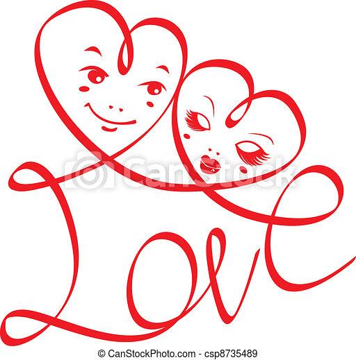 cœurs, amour, mot - csp8735489