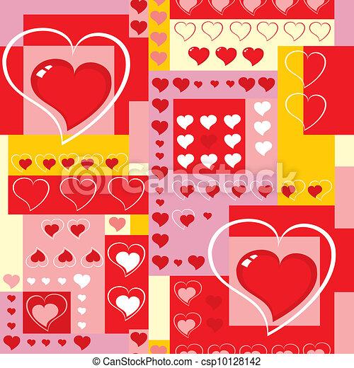 cœurs, cubes., fond, seamless, vector. - csp10128142