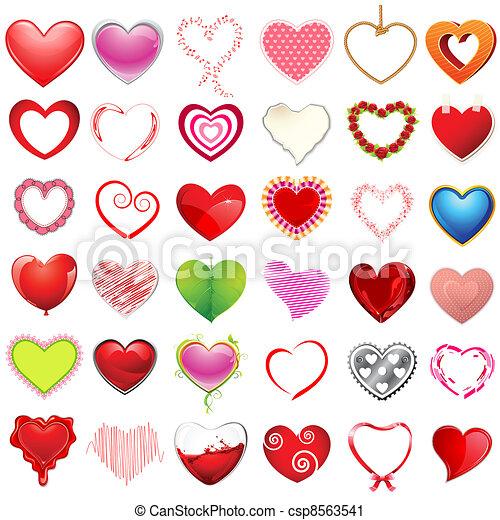 cœurs, différent, style - csp8563541