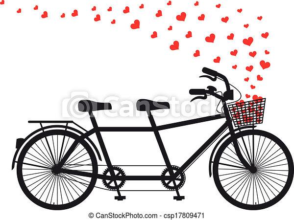cœurs, double bicyclette, rouges - csp17809471