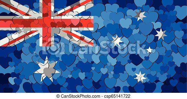 cœurs, drapeau, australie, fond, fait - csp65141722