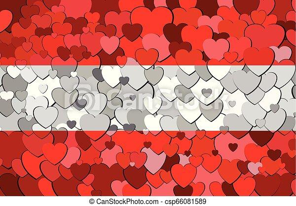 cœurs, drapeau, fait, autriche, fond - csp66081589