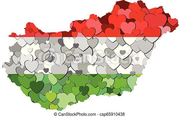 cœurs, drapeau, fait, fond, hongrie - csp65910438