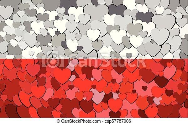 cœurs, drapeau, fait, fond, polonais - csp57787006