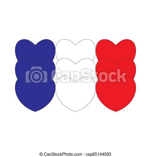 cœurs, drapeau, fait, france - csp65144093
