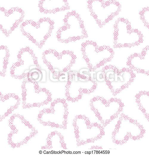 cœurs, fleurs, fait, fond - csp17864559