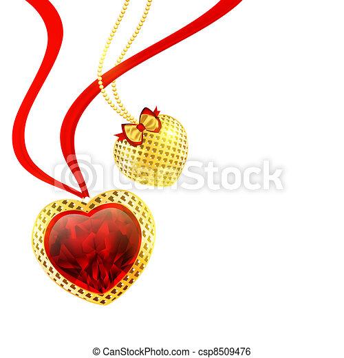 cœurs, jour, petite amie - csp8509476