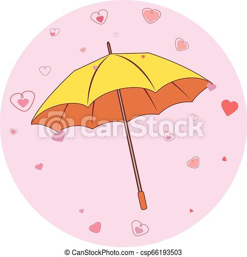 cœurs, parapluie, jaune - csp66193503