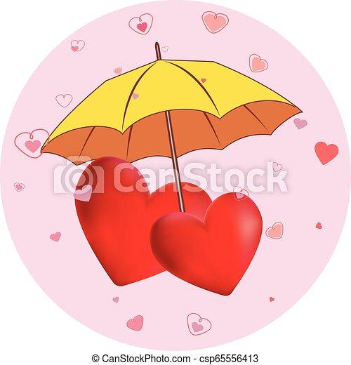 cœurs, parapluie, jaune - csp65556413