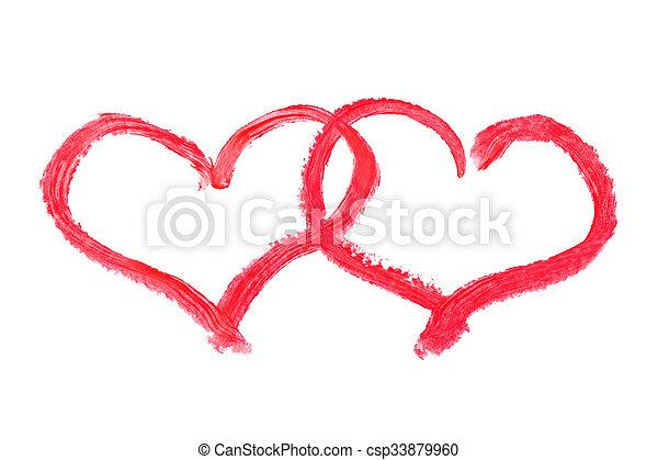 Cœurs Rouge Levres Dessin Rouge Levres Isole Fond Cœurs
