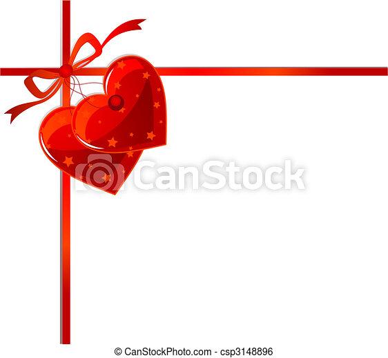 cœurs, ruban rouge - csp3148896