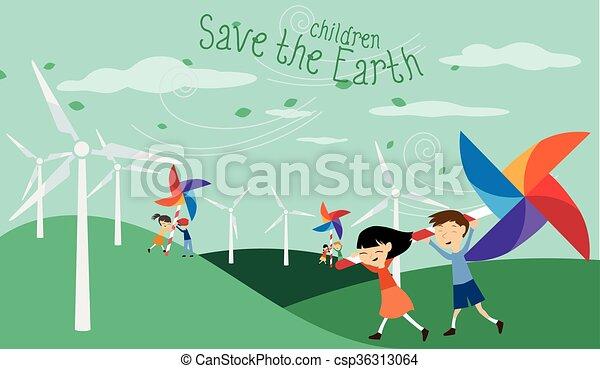 c, énergie, -, terre verte, sauver - csp36313064