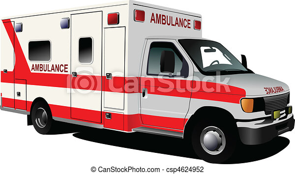 c, över, ambulans, nymodig, white., skåpbil - csp4624952