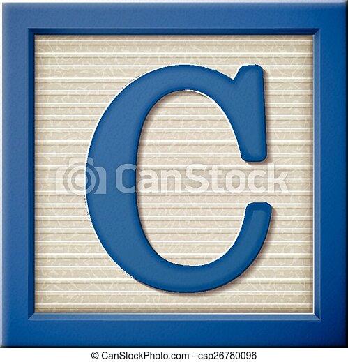 3D bloque azul de letras C - csp26780096