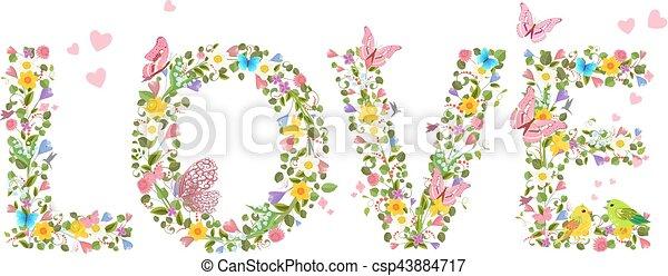 """c, brieven, lente, vliegen, vlinder, """"love"""", bloemen - csp43884717"""