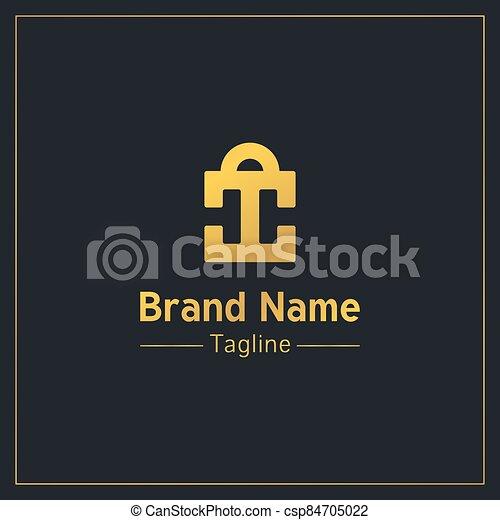 c, cartas, dorado, forma, compras, profesional, logotipo, diseño, plantilla, bolsas, dos - csp84705022
