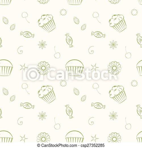 c, cupcakes, キャンデー, seamless, 手, パターン, ベクトル, 引かれる - csp27352285