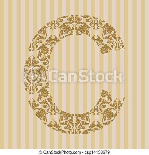 c, font., lettre, floral - csp14153679