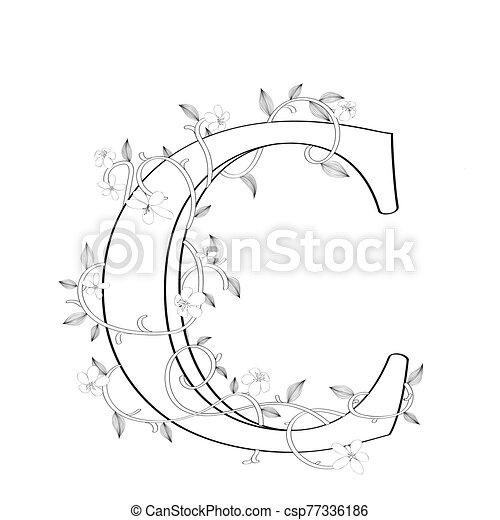 c, lettre, floral, croquis - csp77336186