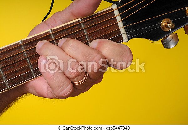 Finger Position For A C Major Guitar Chord Stock Photography
