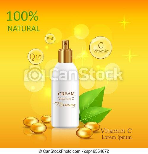 C, naturel, tube, vitamine, vecteur, lustré, crème. Or, cosmétique ... d6ae5cc5325
