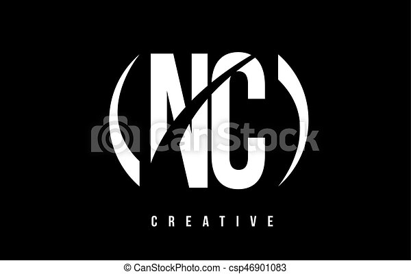 C Nc N Arrière Plan Conception Lettre Logo Blanc Noir