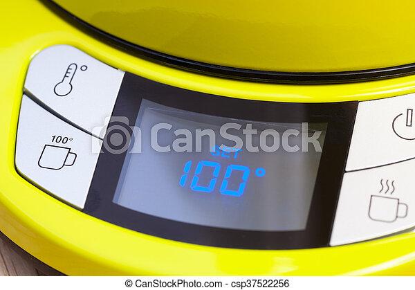 C, satz, elektrisch, tee- kessel, 100, temperatur.... Stockbilder ...