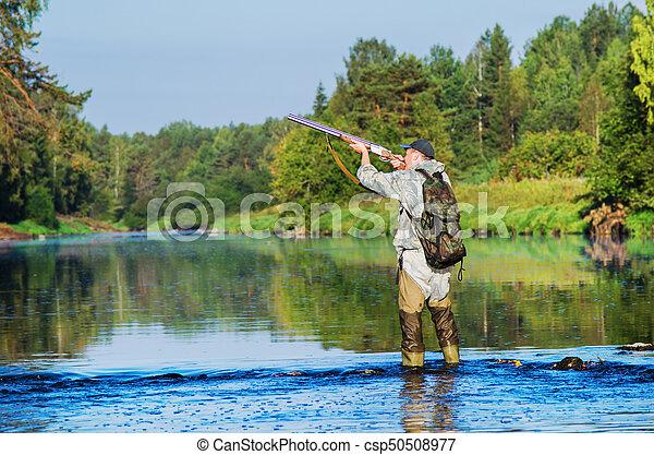 caçador, caça, pato - csp50508977