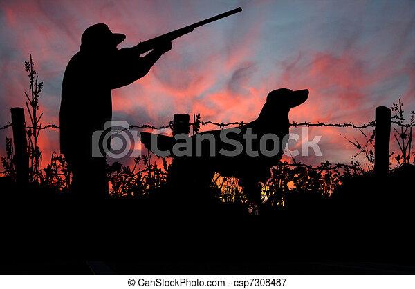 caçador, seu, caça, cão, amanhecer - csp7308487